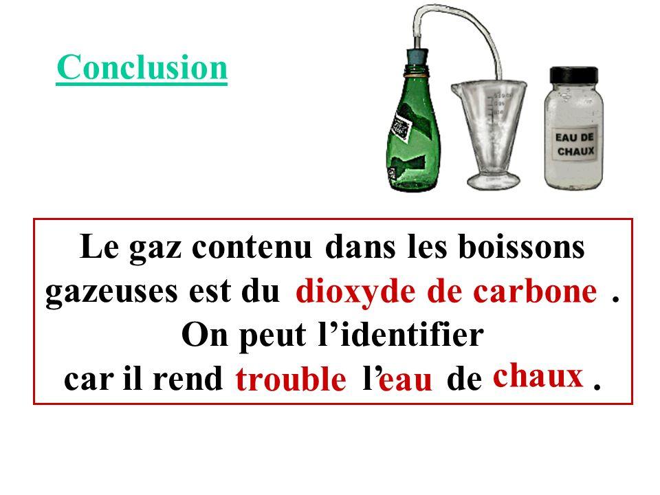 Conclusion Le gaz contenu dans les boissons gazeuses est du . On peut l'identifier.