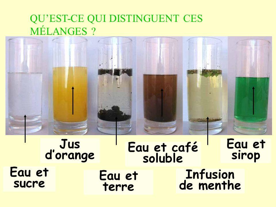 Eau et sucre Eau et café soluble Eau et sirop Jus d'orange