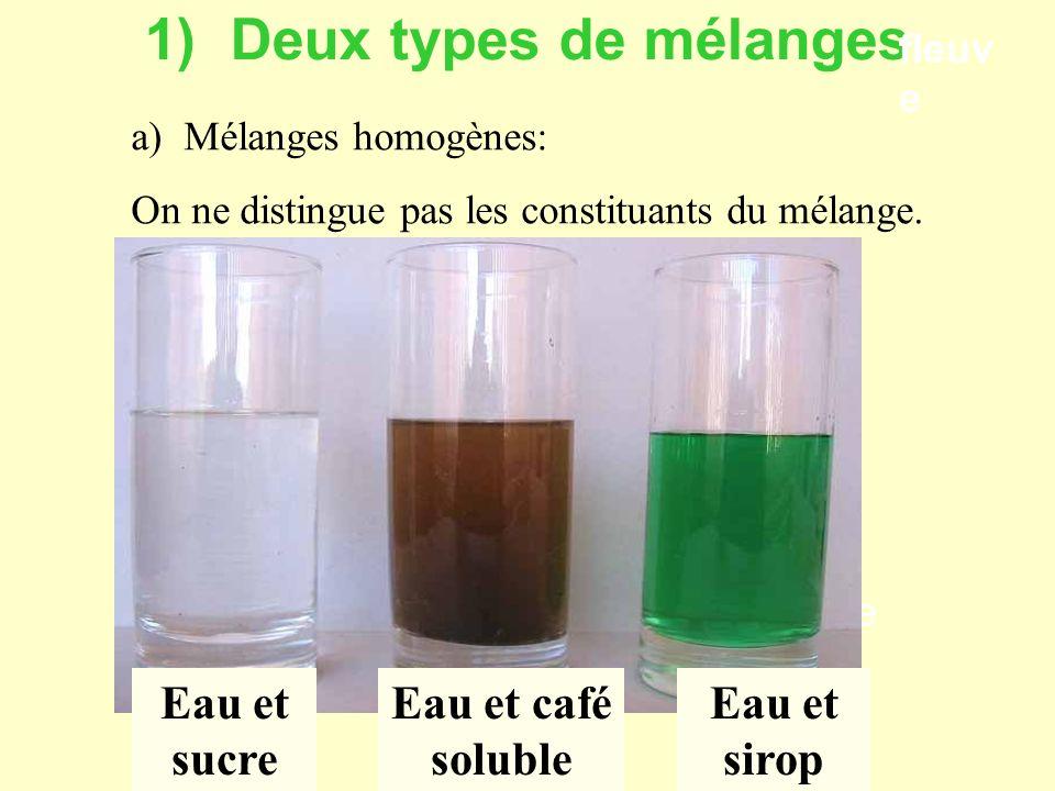 1) Deux types de mélanges
