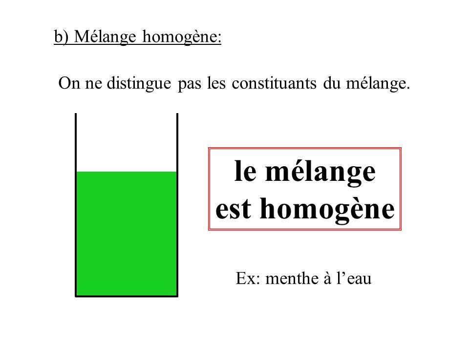 le mélange est homogène