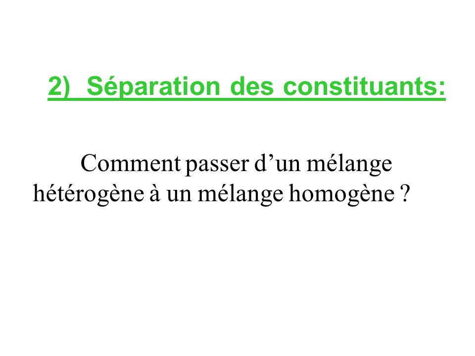 2) Séparation des constituants:
