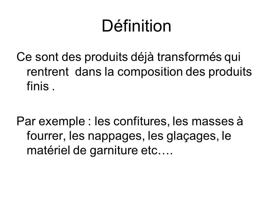 Définition Ce sont des produits déjà transformés qui rentrent dans la composition des produits finis .