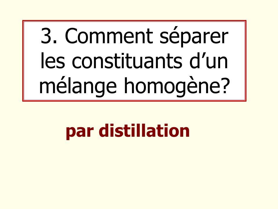 3. Comment séparer les constituants d'un mélange homogène