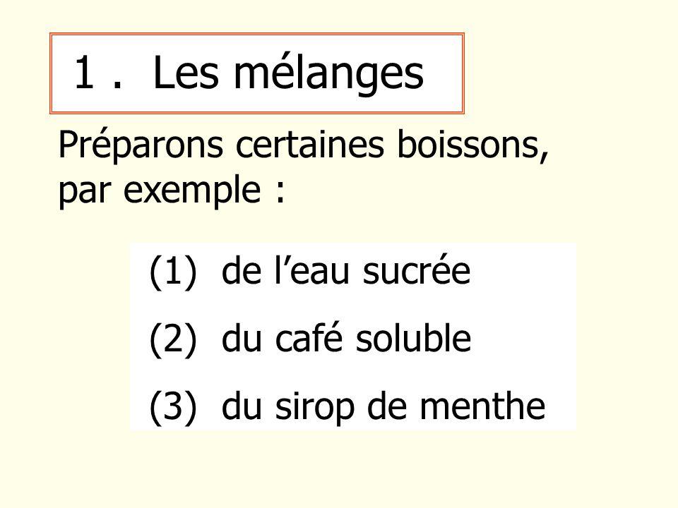 1 . Les mélanges Préparons certaines boissons, par exemple :