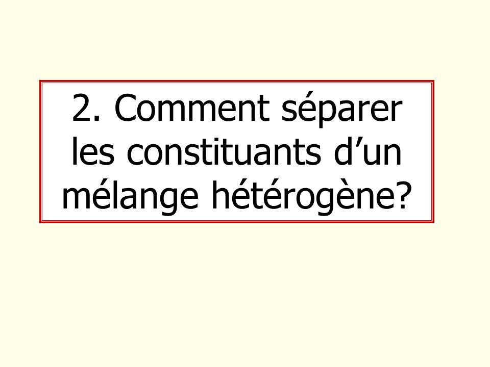 2. Comment séparer les constituants d'un mélange hétérogène