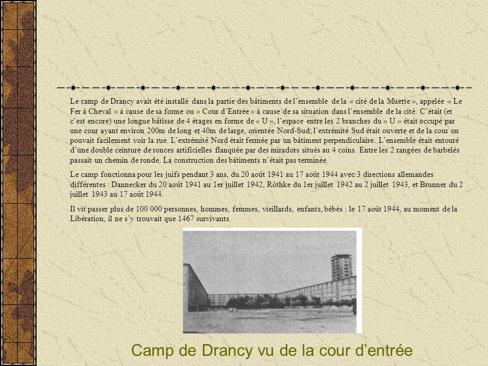Camp de Drancy vu de la cour d'entrée