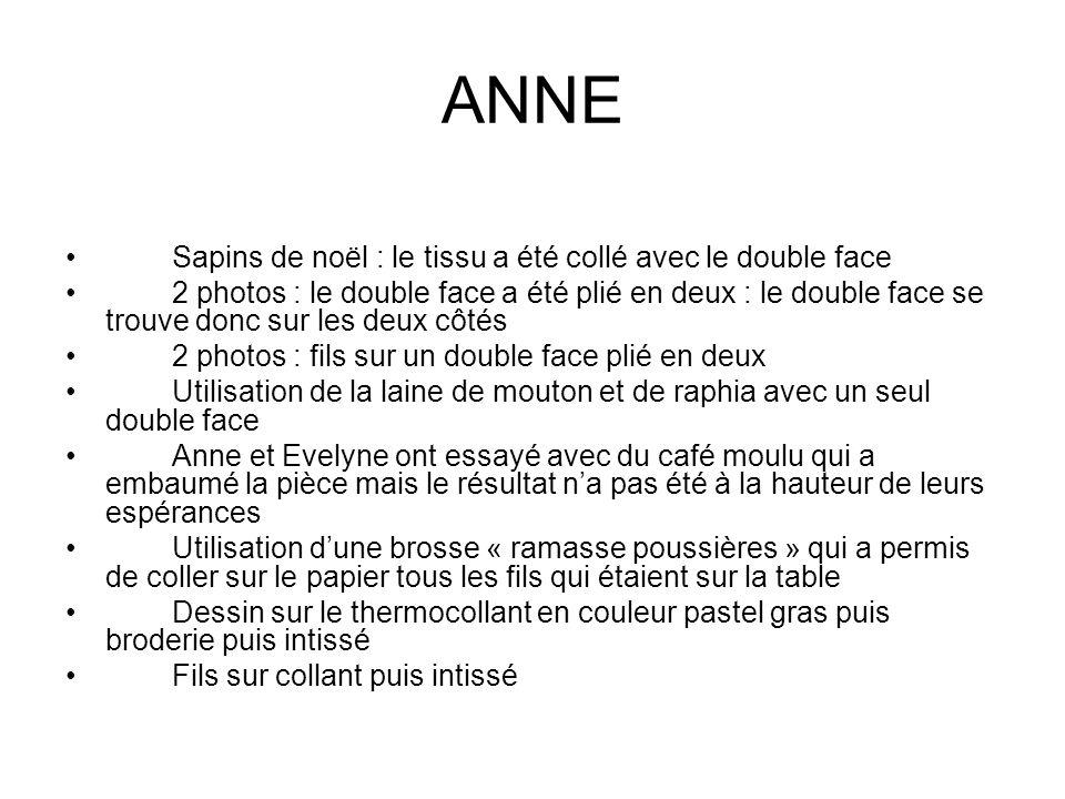 ANNE Sapins de noël : le tissu a été collé avec le double face
