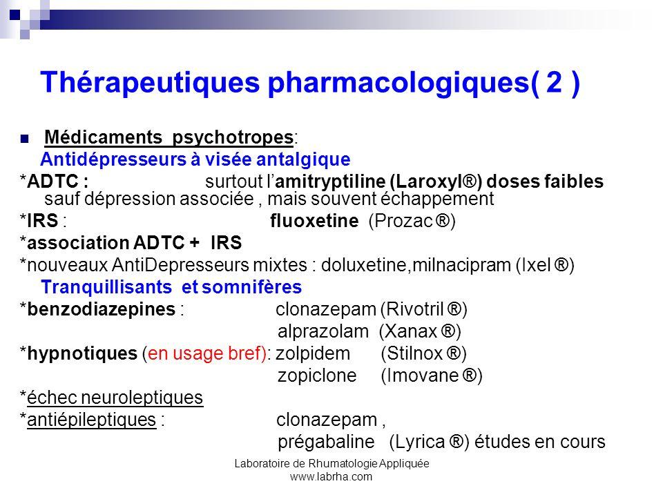 Thérapeutiques pharmacologiques( 2 )