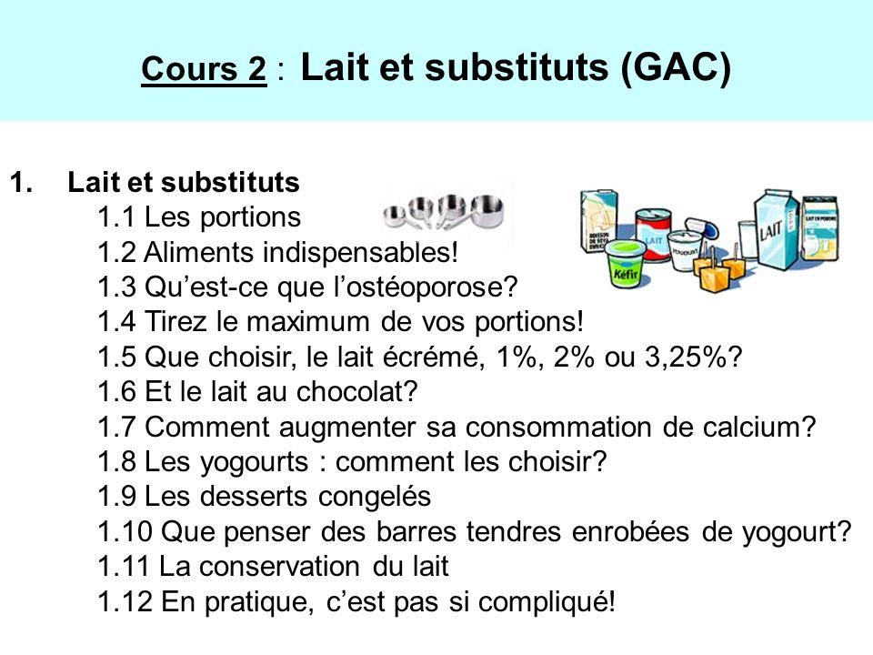 Cours 2 : Lait et substituts (GAC)