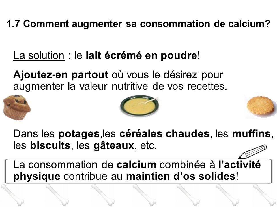 La solution : le lait écrémé en poudre!