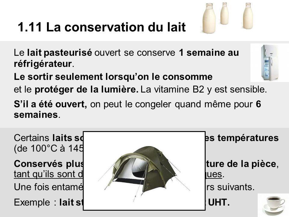 1.11 La conservation du lait