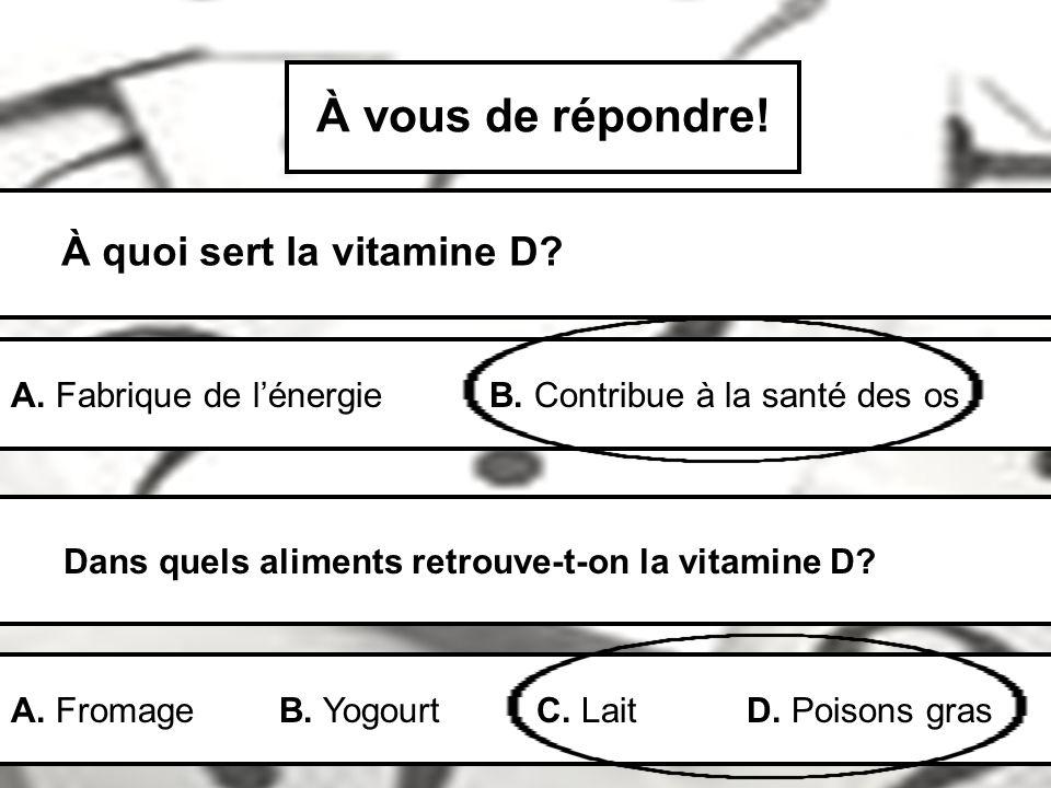 À vous de répondre! À quoi sert la vitamine D