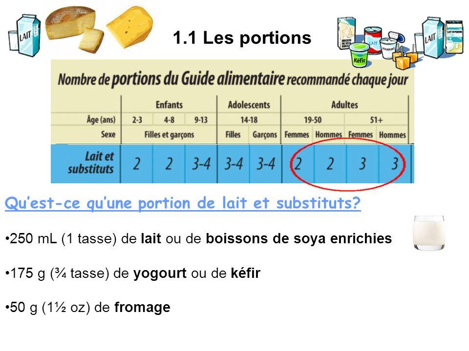 1.1 Les portions Qu'est-ce qu'une portion de lait et substituts