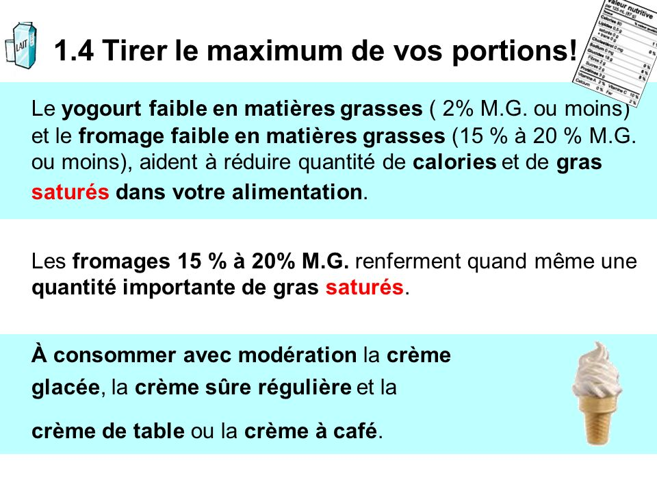 1.4 Tirer le maximum de vos portions!
