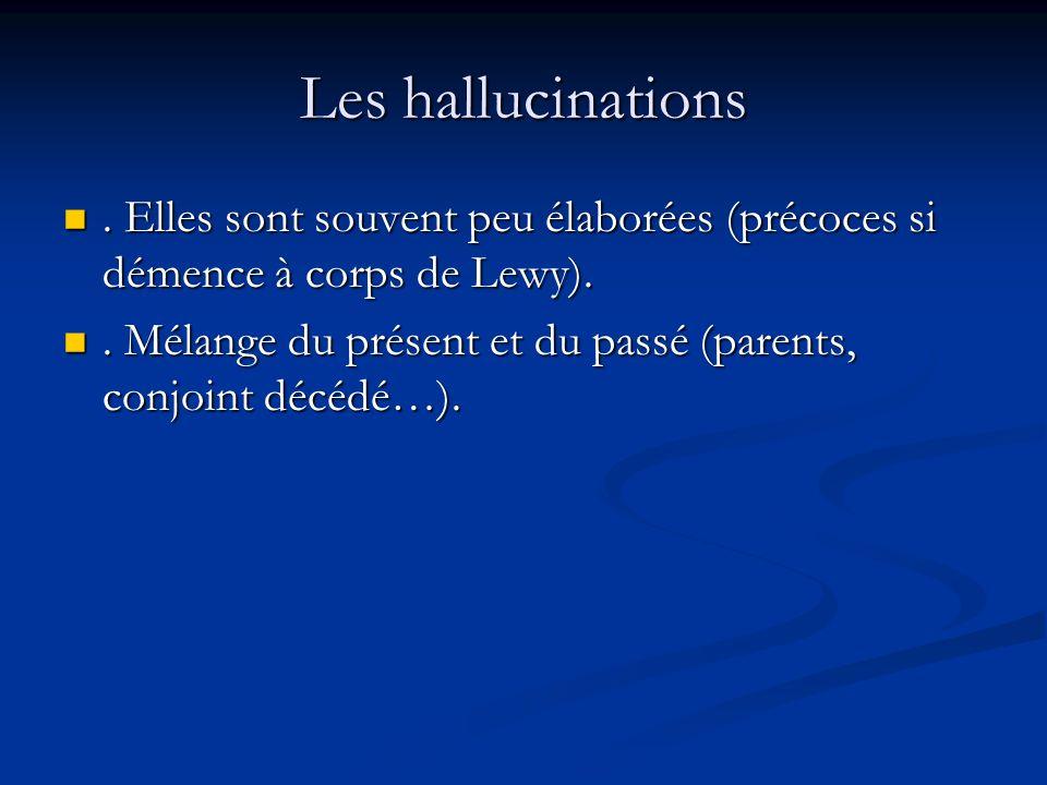 Les hallucinations . Elles sont souvent peu élaborées (précoces si démence à corps de Lewy).