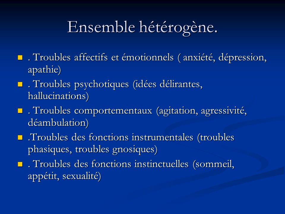 Ensemble hétérogène. . Troubles affectifs et émotionnels ( anxiété, dépression, apathie) . Troubles psychotiques (idées délirantes, hallucinations)