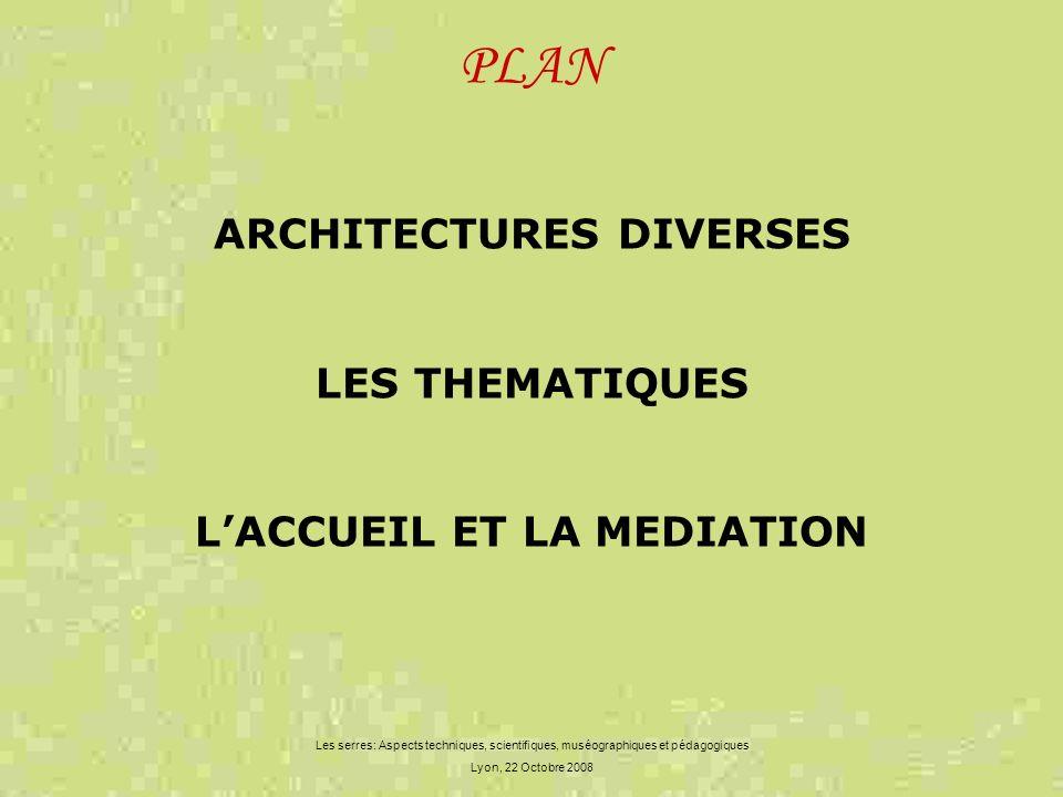 ARCHITECTURES DIVERSES L'ACCUEIL ET LA MEDIATION