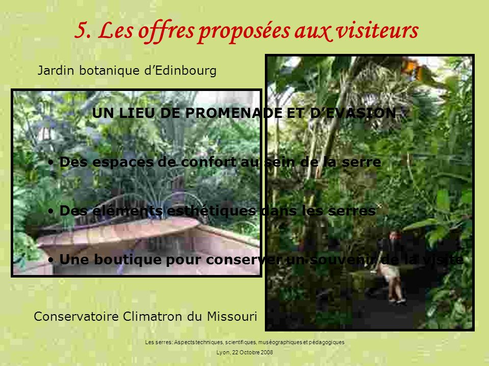 5. Les offres proposées aux visiteurs
