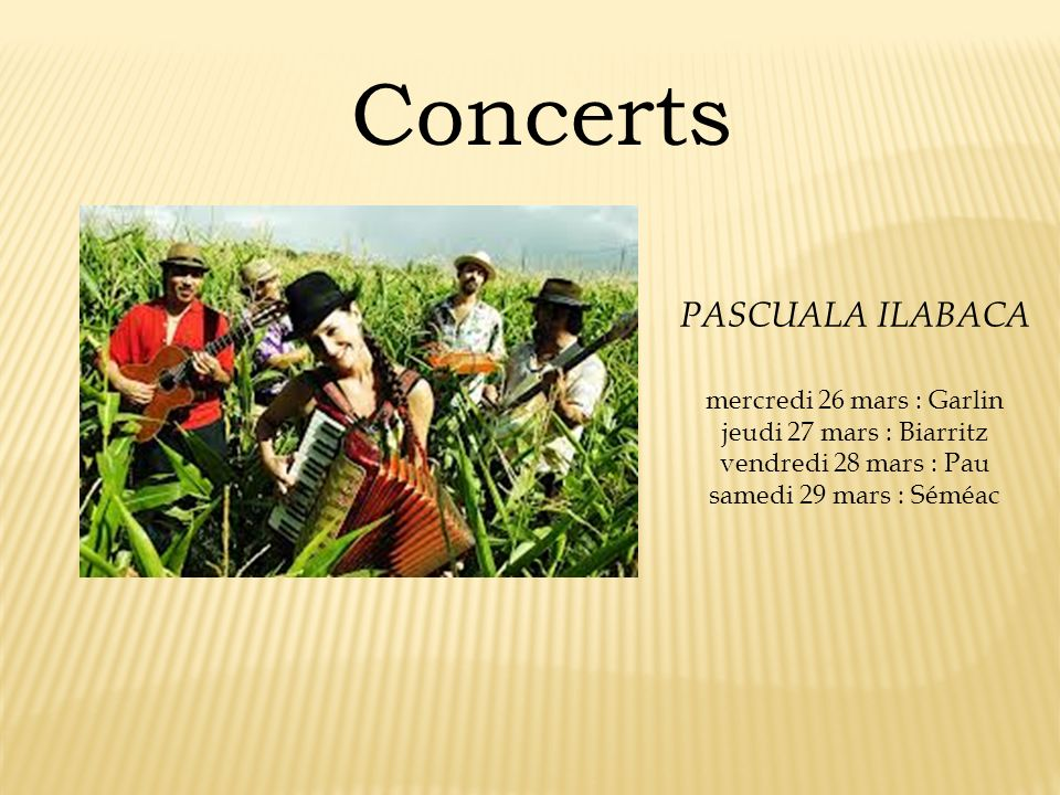 Concerts PASCUALA ILABACA mercredi 26 mars : Garlin