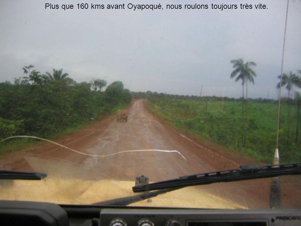 Plus que 160 kms avant Oyapoqué, nous roulons toujours très vite.