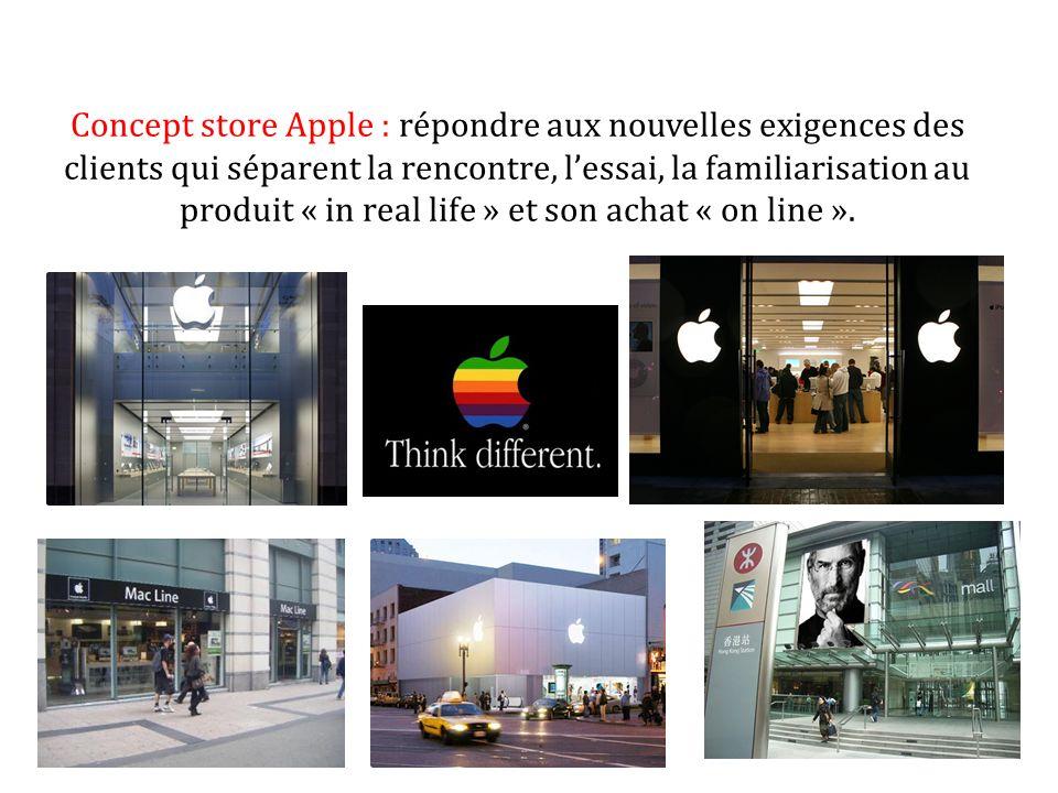Concept store Apple : répondre aux nouvelles exigences des clients qui séparent la rencontre, l'essai, la familiarisation au produit « in real life » et son achat « on line ».