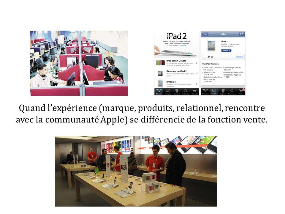 Quand l'expérience (marque, produits, relationnel, rencontre avec la communauté Apple) se différencie de la fonction vente.
