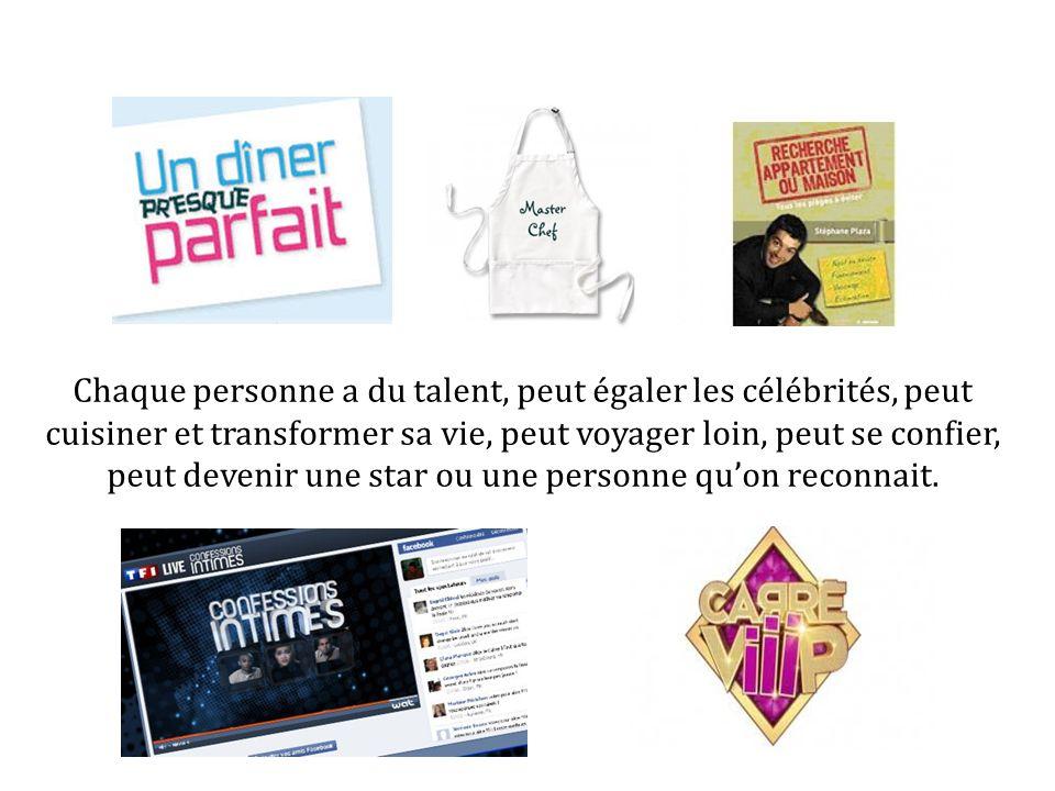 Chaque personne a du talent, peut égaler les célébrités, peut cuisiner et transformer sa vie, peut voyager loin, peut se confier, peut devenir une star ou une personne qu'on reconnait.