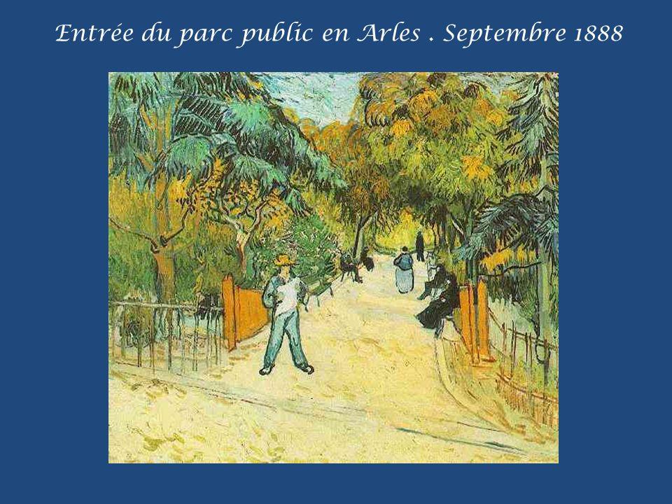 Entrée du parc public en Arles . Septembre 1888