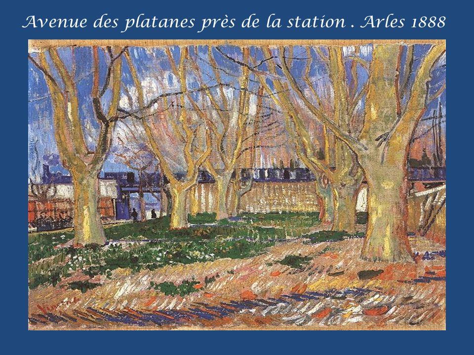 Avenue des platanes près de la station . Arles 1888