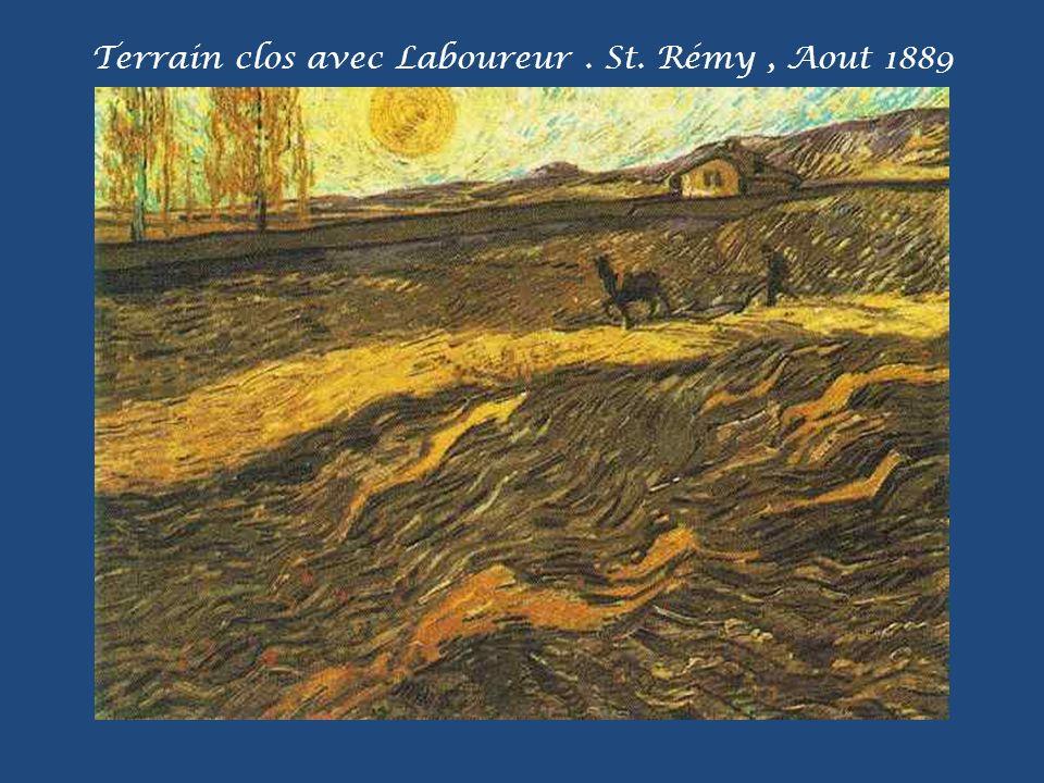 Terrain clos avec Laboureur . St. Rémy , Aout 1889
