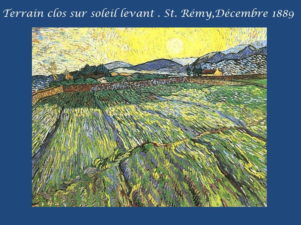 Terrain clos sur soleil levant . St. Rémy,Décembre 1889