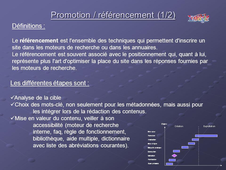 Promotion / référencement (1/2)