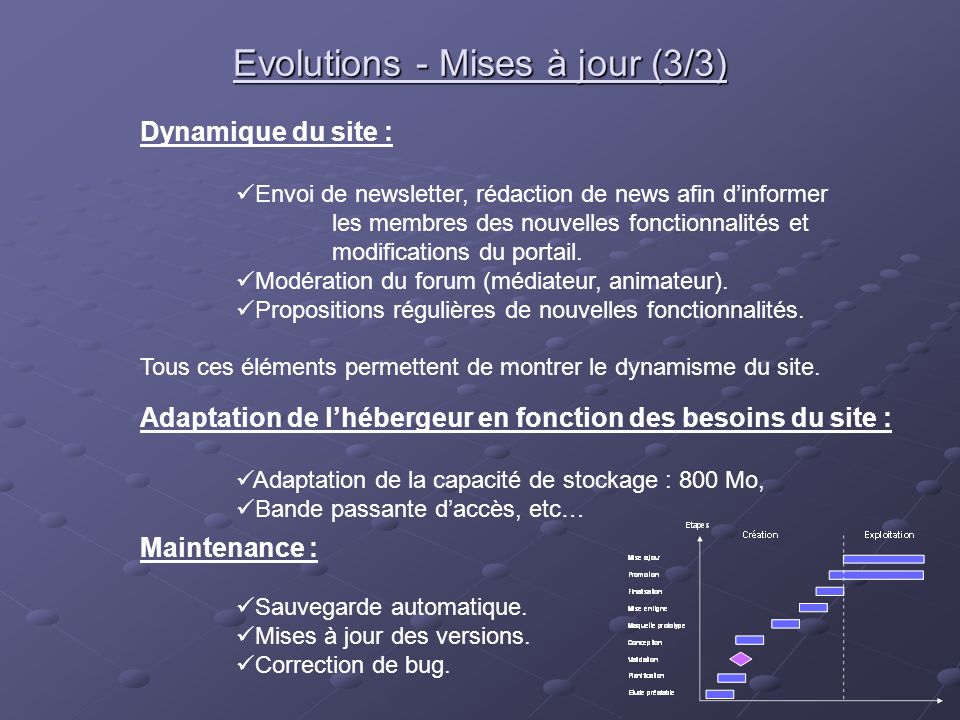 Evolutions - Mises à jour (3/3)