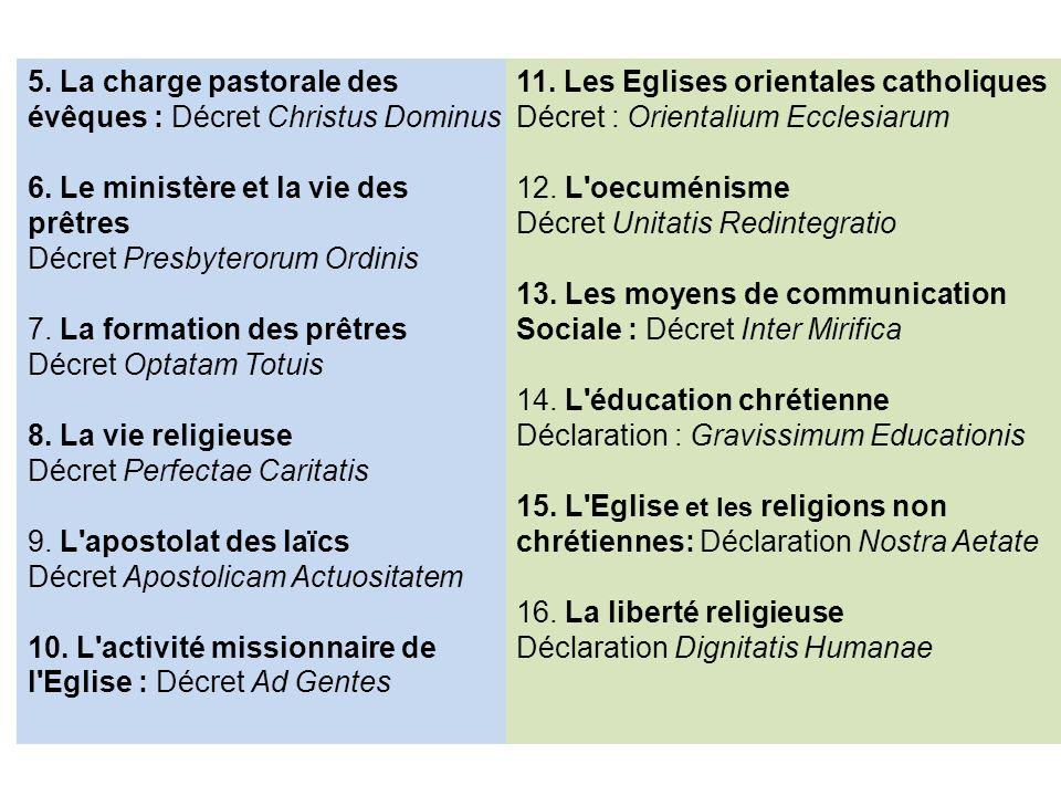 5. La charge pastorale des évêques : Décret Christus Dominus