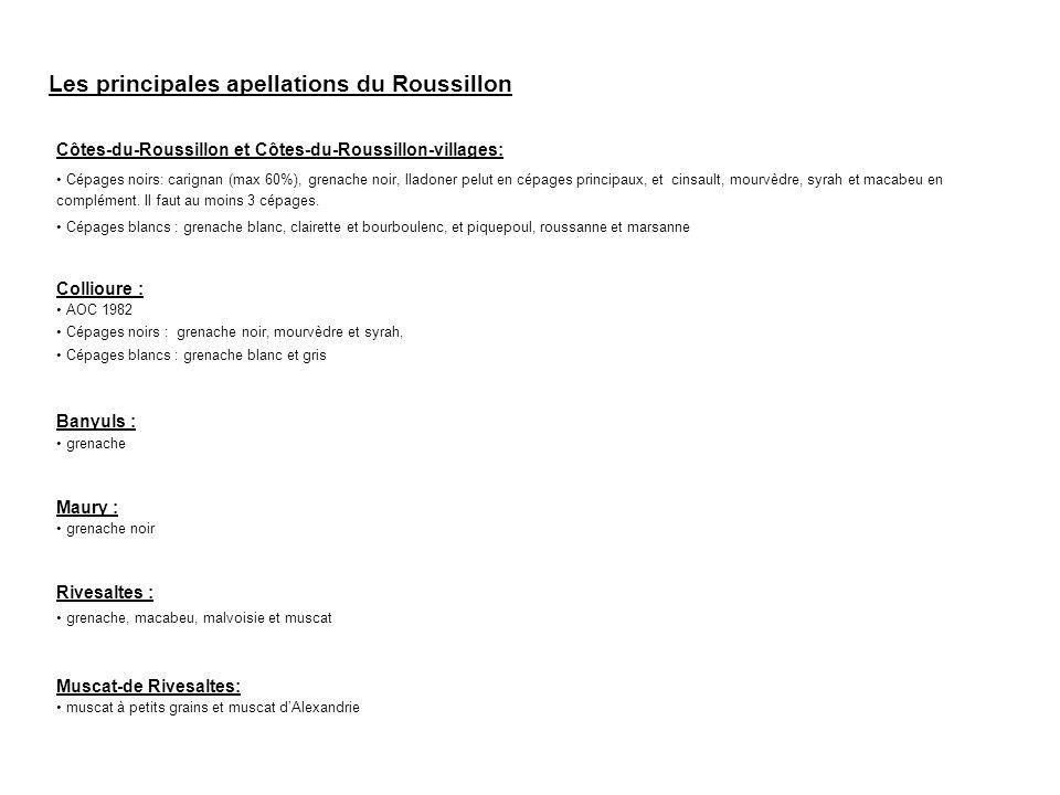 Les principales apellations du Roussillon