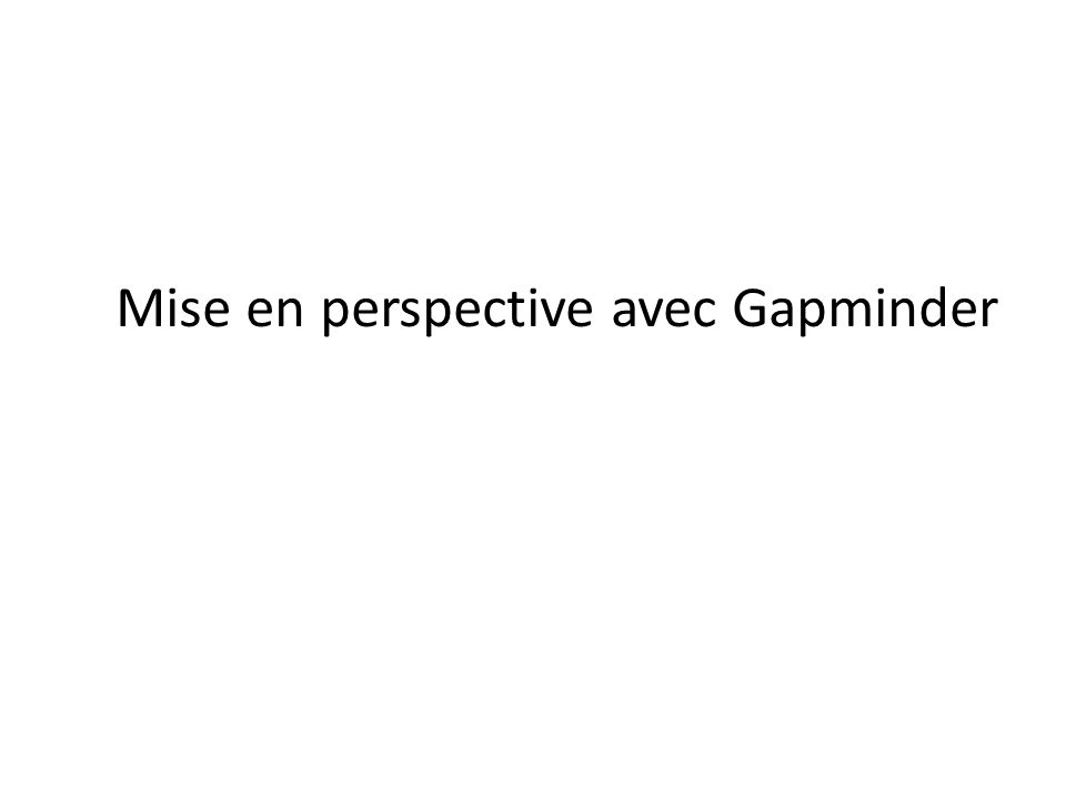 Mise en perspective avec Gapminder