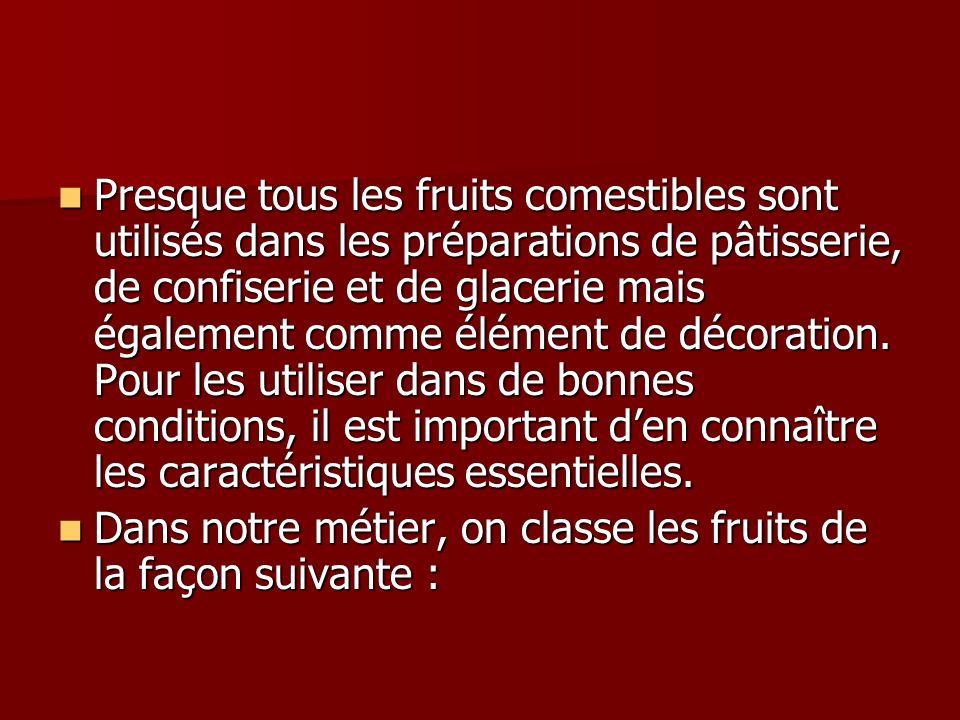 Presque tous les fruits comestibles sont utilisés dans les préparations de pâtisserie, de confiserie et de glacerie mais également comme élément de décoration. Pour les utiliser dans de bonnes conditions, il est important d'en connaître les caractéristiques essentielles.