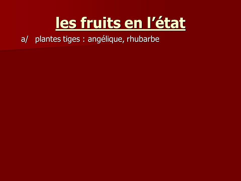 les fruits en l'état a/ plantes tiges : angélique, rhubarbe