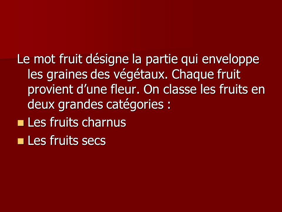 Le mot fruit désigne la partie qui enveloppe les graines des végétaux
