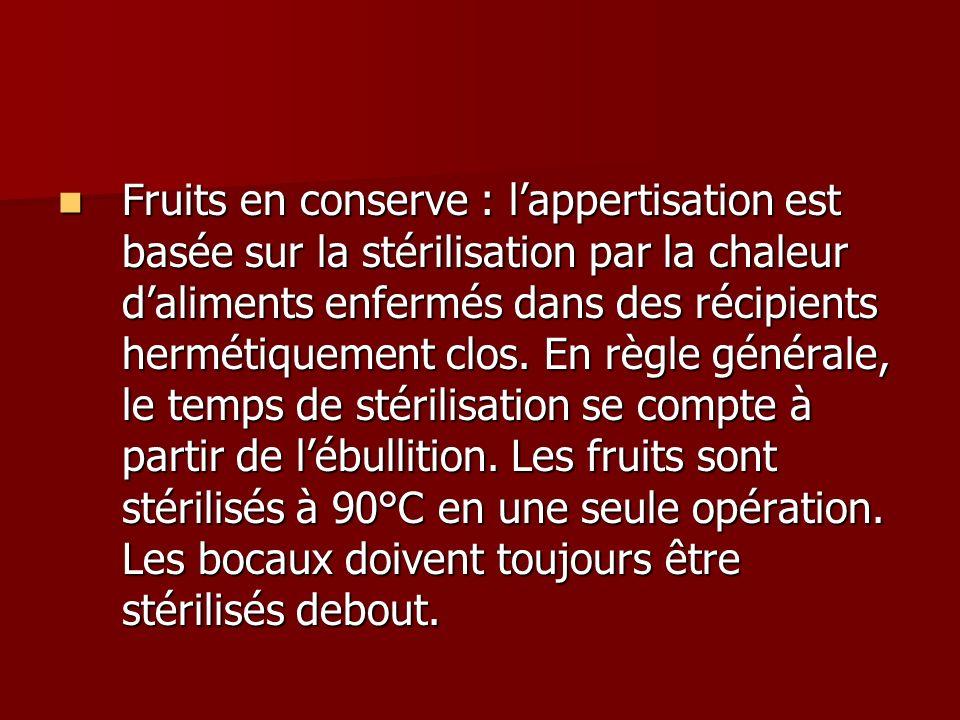 Fruits en conserve : l'appertisation est basée sur la stérilisation par la chaleur d'aliments enfermés dans des récipients hermétiquement clos.