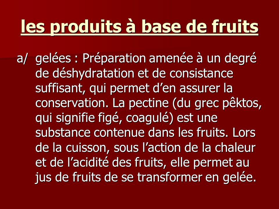 les produits à base de fruits