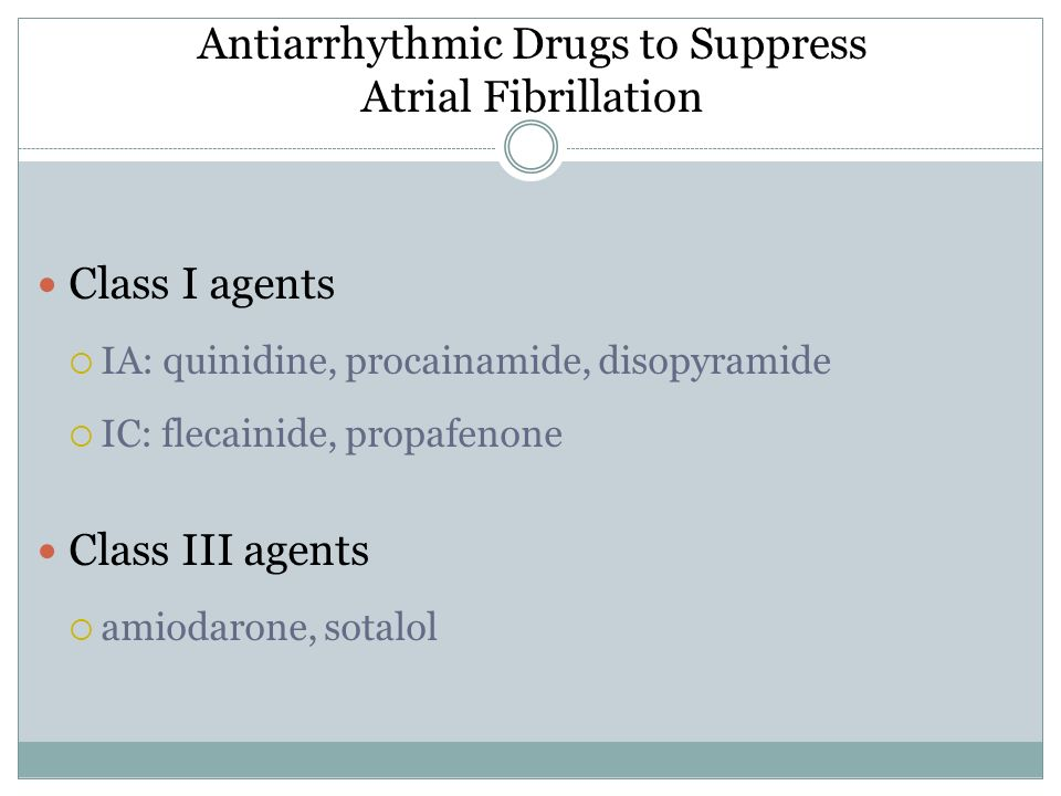 Antiarrhythmic Drugs to Suppress Atrial Fibrillation
