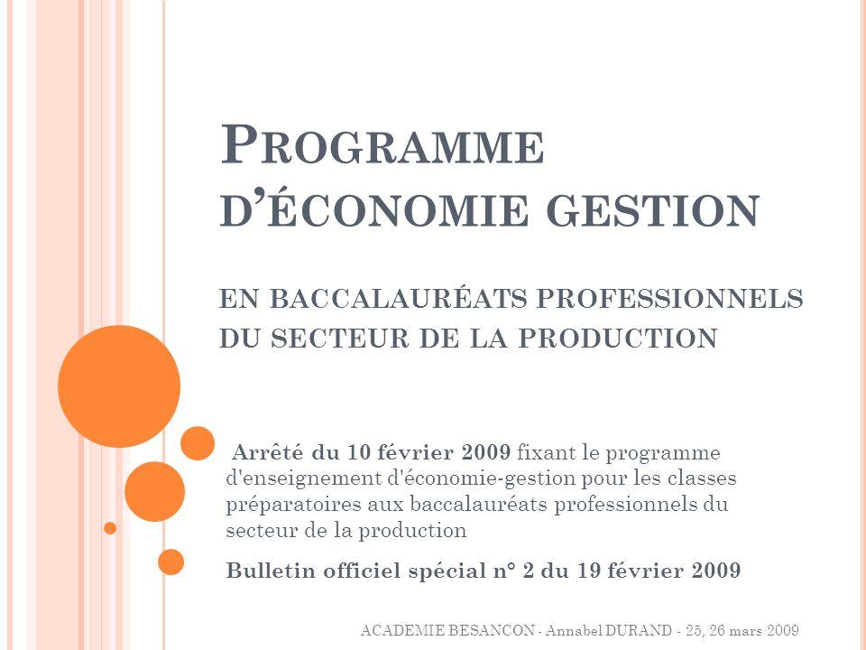 Programme d'économie gestion en baccalauréats professionnels du secteur de la production