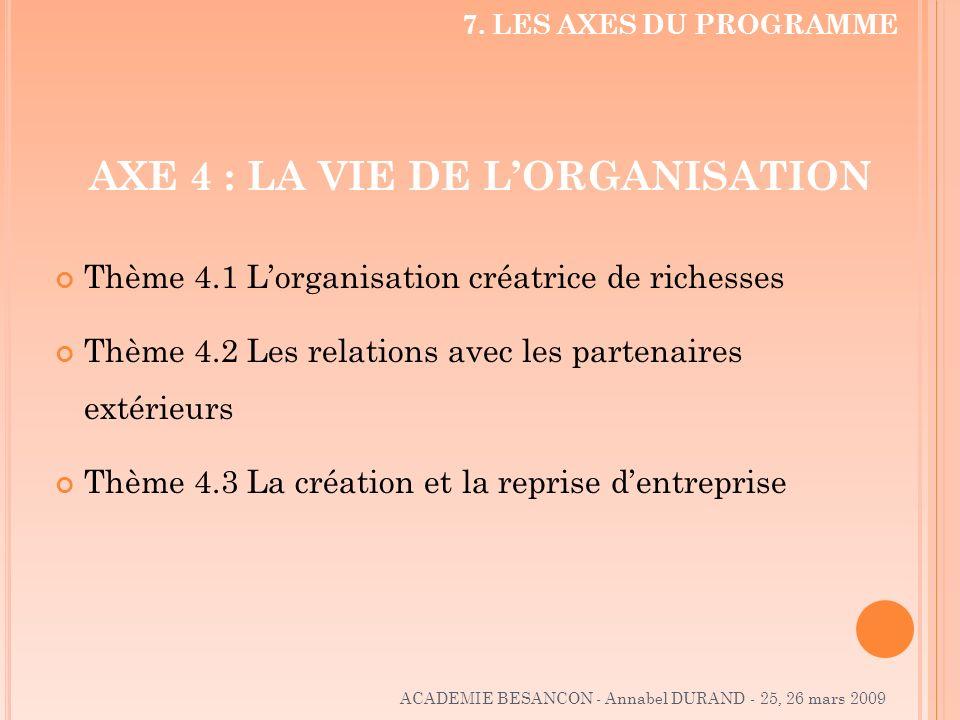 AXE 4 : LA VIE DE L'ORGANISATION