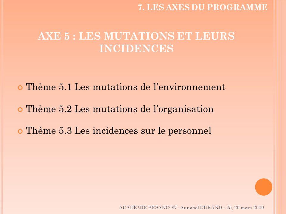 AXE 5 : LES MUTATIONS ET LEURS INCIDENCES