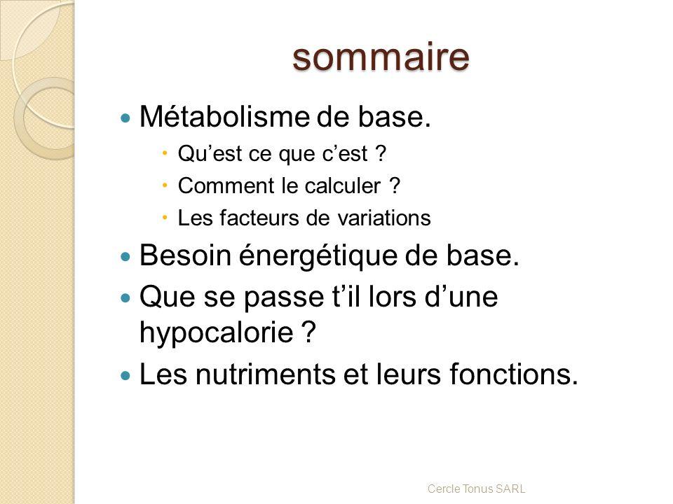 sommaire Métabolisme de base. Besoin énergétique de base.