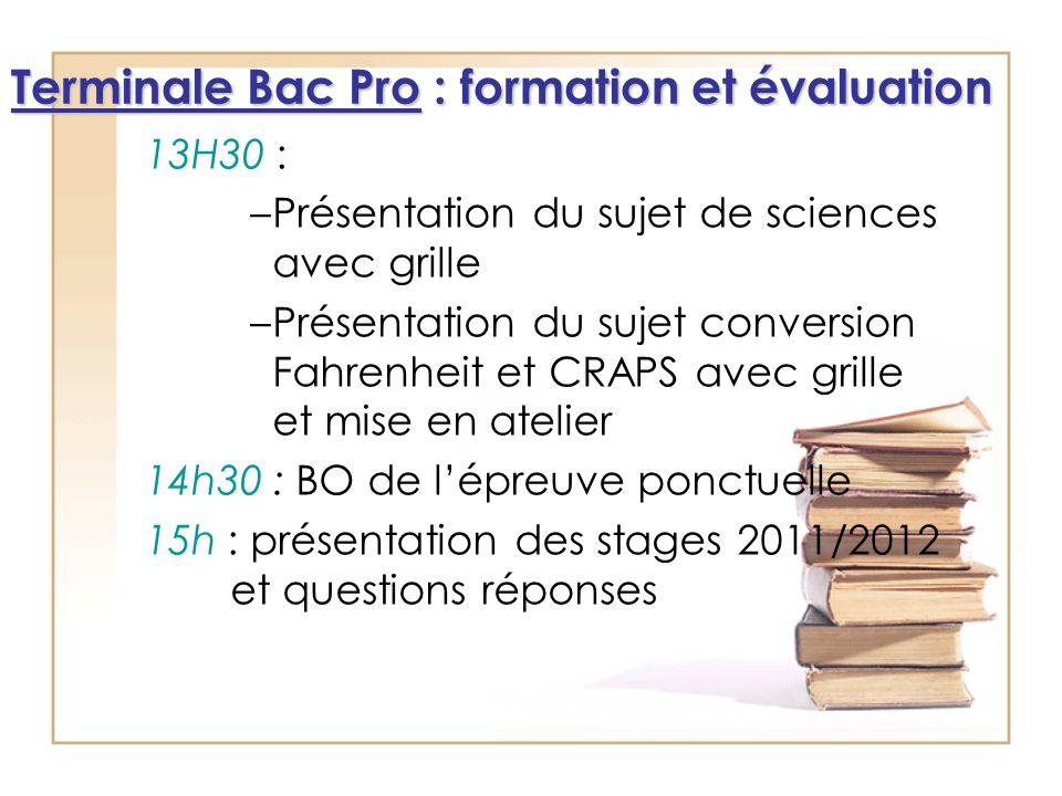 Terminale Bac Pro : formation et évaluation