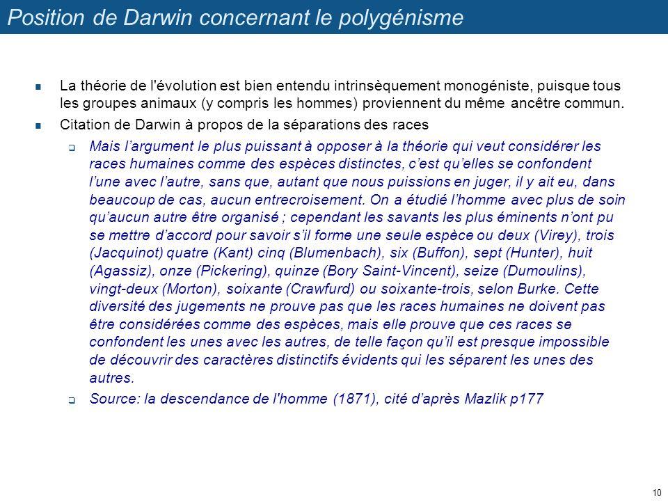 Position de Darwin concernant le polygénisme