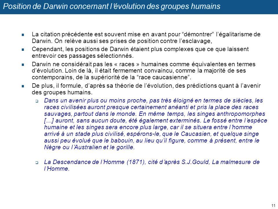 Position de Darwin concernant l'évolution des groupes humains