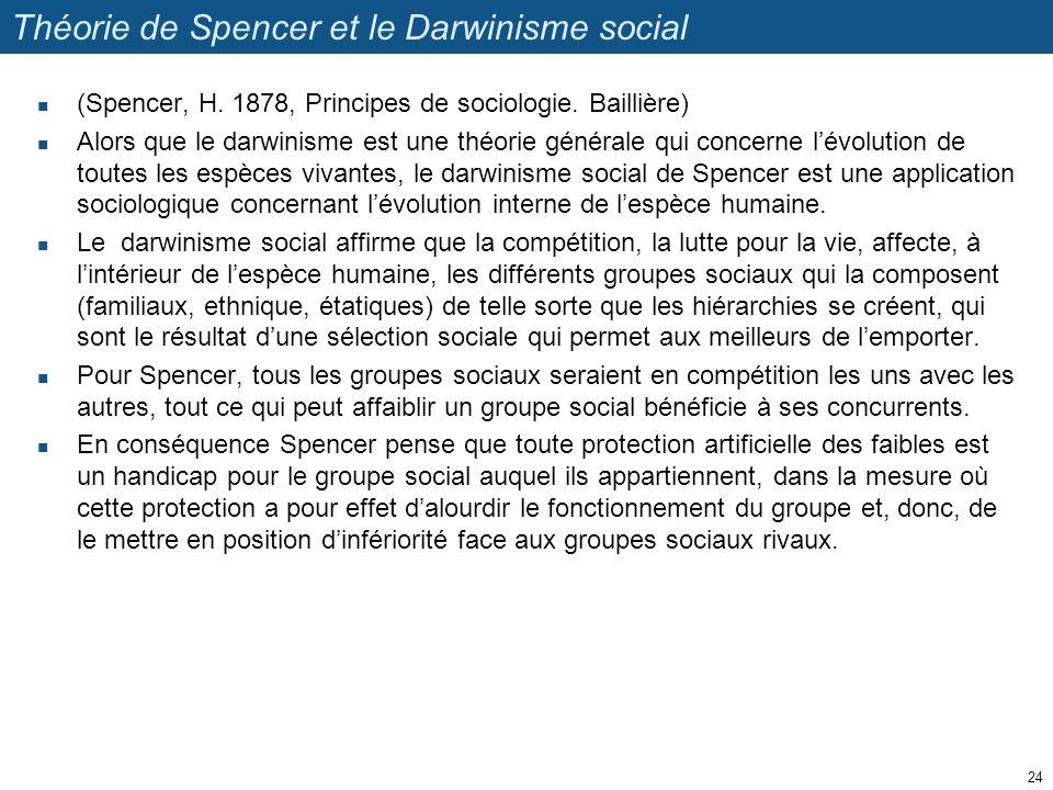 Théorie de Spencer et le Darwinisme social